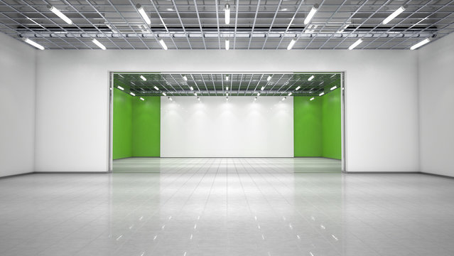 Empty exhibition hall. 3d illustration