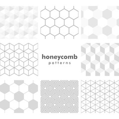 Set of grayscale honeycomb patterns