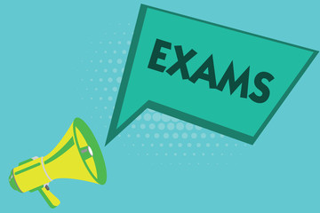Writing note showing Exams. Business photo showcasing test of a specified kind to prove your strength and weakness.