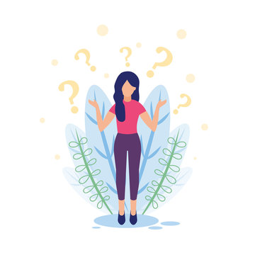 Business concept vector illustration, girl on a white background with question marks, an error occurred.