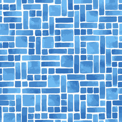 Hand painted abstract geometric tile in blue. Seamless mosaic vector pattern