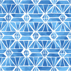 Hand painted mosaic background with diamonds and triangles in indigo blue. Stained glass imitation. Seamless geometric vector pattern