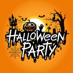 Halloween party vector illustration.