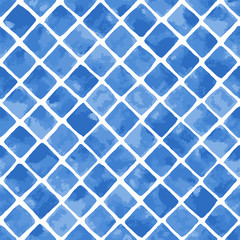 Hand painted mosaic background with diagonally laid squares in blue. Seamless vector pattern