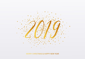 2019 year card with confetti in golden design. Merry Christmas and Happy New Year Text.