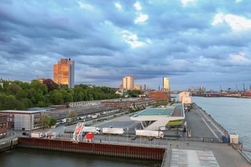 Blick auf den Hamburger Hafen mit Kreuzfahrtterminal und Fischmarkthallen