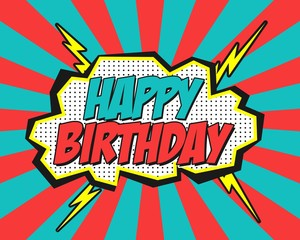 Comic happy birthday. Background blue and red, vector illustration.