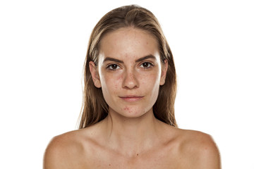 Portrait of young beautiful shirtless woman with no makeup on white backgeound Fototapete