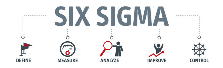 Lean six sigma concept vector illustration with text and related icons