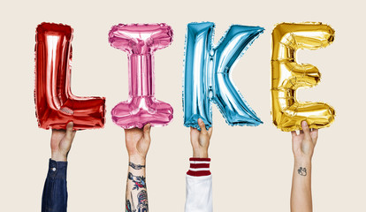 Colorful alphabet helium balloons forming the text like