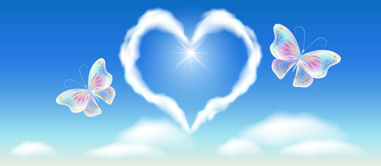Cloud heart in the sky and fantasy butterflies with golden ornament
