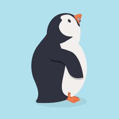 Penguin bird  eating fish