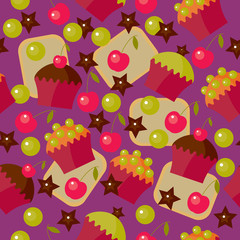 Vector sweet seamless pattern, background for design.