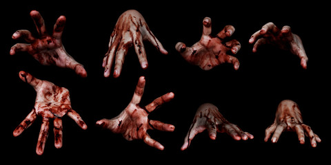 Bloody hands isolated on black background Wall mural