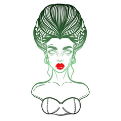The bride of Frankenstein Girl Line Art. Hand drawn vector illustration. Girl in Halloween costumes