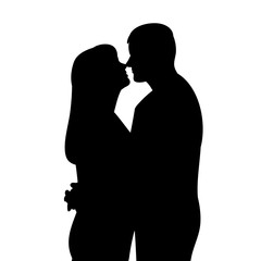 isolated silhouette portrait guy and girl
