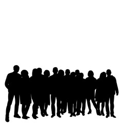vector, isolated silhouette people, group, crowd