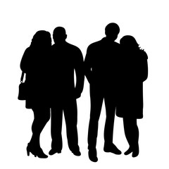 vector, isolated silhouette people, group