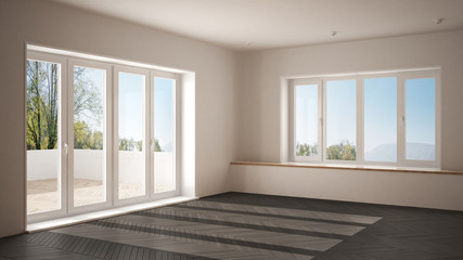 Modern empty space with big panoramic windows and wooden floor, minimalist white and gray architecture interior design