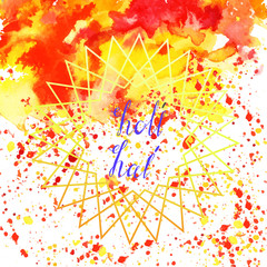 Holi festival,Traditional indian holiday,watercolor,different colored spots vector, red-yellow background,beautiful card