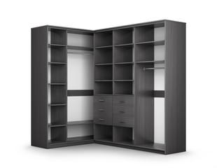 Cabinet of dark wood, closet compartment. 3d illustration