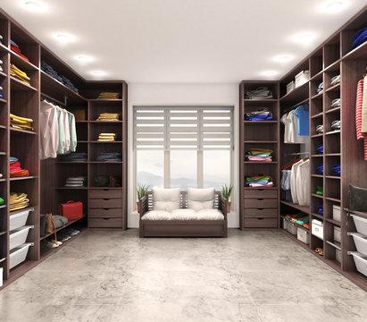 Modern luxury dressing room, wardrobe, 3d illustration