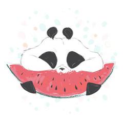 Cute cartoon panda bear character eat watermelon. Summer vector hand drawn illustration