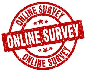 online survey round red grunge stamp