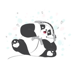 Big cute Panda is playing a video game. Vector illustration. High technology and entertainment.