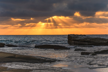 Sun rays bursting through - Sunrise Seascape