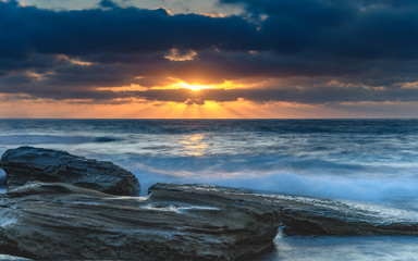And the sky lit up - a moody Sunrise Seascape