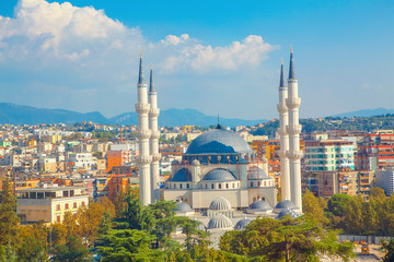 Panorama of Tirana and largest mosque in Albania
