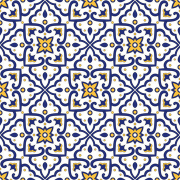 Italian tile pattern vector seamless with vintage ornaments. Portuguese azulejos, mexican talavera, italy sicily majolica motifs. Tiled texture for ceramic kitchen wall or bathroom mosaic floor.