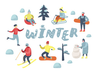 Flat People Characters on Happy Vacation. Winter Sports Sledding, Snowboard, Ski. Vector illustration