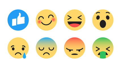 Flat Design Vector Facebook Emoticons Set with Different Reactions for Social Network Isolated on White Background. Modern Emoji Collection