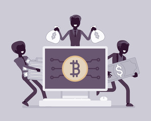 Cryptocurrency wealth, black silhouette illustration