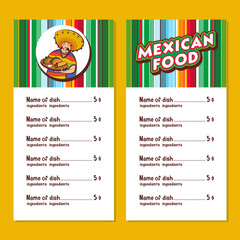 Mexican food. Cute Mexican holding a tray of Mexican food. A set of popular Mexican dishes. Vector illustration.