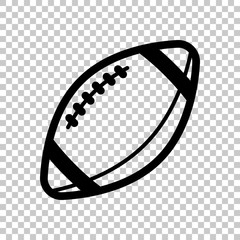 American Football logo. Simple rugby ball icon. On transparent b