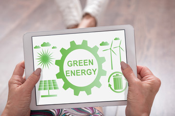 Green energy concept on a tablet