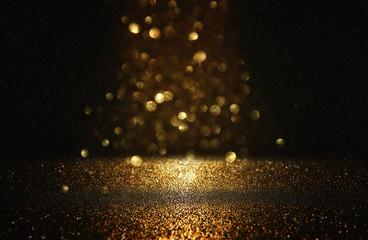 Fototapete - glitter vintage lights background. black and gold. de-focused.