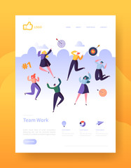 Website Development Landing Page Template Poster, Banner. Mobile Application Layout with Happy Flat People Characters. Easy to Edit and Customize. Vector illustration