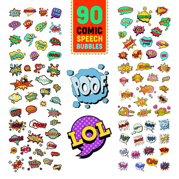Pop Art Comic Speech Bubbles Collection with Funny Text. Chat, Communication Stickers, Badges and Patches. Vector illustration