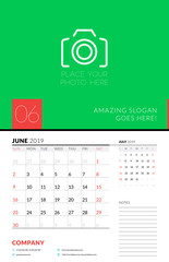 Wall calendar planner template for June 2019. Week starts on Sunday. Vector illustration