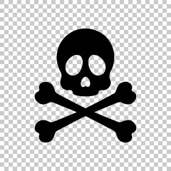 Skull and crossed bones. Simple icon. On transparent background.