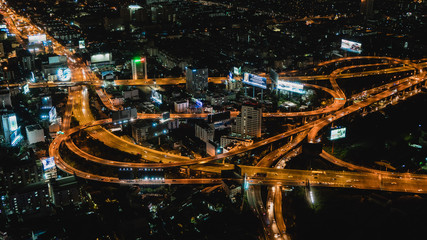 Beautiful night view of Bangkok City from above, Thailand