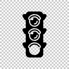 Traffic light icon. Sign of walk, green or go. On transparent ba