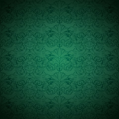 Green vintage background , royal with classic Baroque pattern, Rococo with darkened edges background(card, invitation, banner). square format