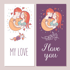 Boy and girl. Love. Vector illustration in a linear fashion.