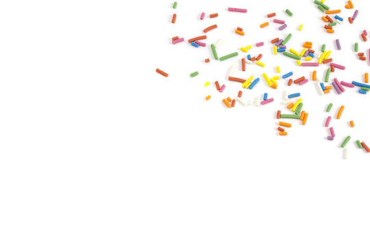 candy sprinkles confetti on white background