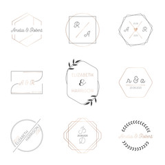 Wedding monogram collection, Modern Minimalistic templates for Invitation cards, Save the Date, Logo identity for restaurant, boutique, cafe in vector